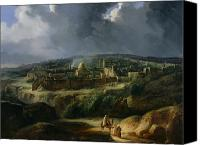 Valley Canvas Prints - View of Jerusalem from the Valley of Jehoshaphat Canvas Print by Auguste Forbin 