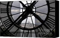 Ile De France Canvas Prints - View of Montmartre through the clock at Museum Orsay.Paris Canvas Print by Bernard Jaubert