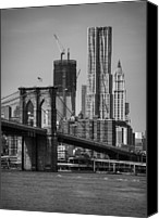 Waterfront Canvas Prints - View Of One World Trade Center And Brooklyn Bridge Canvas Print by Matt Pasant