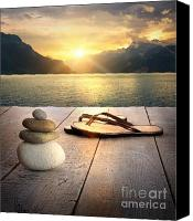 Vacation Digital Art Canvas Prints - View of sandals and rocks on dock  Canvas Print by Sandra Cunningham