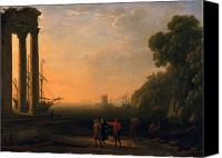 Ruin Painting Canvas Prints - View of Seaport Canvas Print by Claude Lorrain
