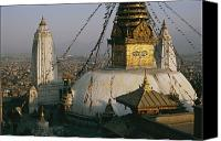 Religious Structures Canvas Prints - View Of Swayambhunath Stupa Canvas Print by Maria Stenzel