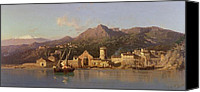 Taormina Canvas Prints - View of Taormina Sicily Canvas Print by Alessandro la Volpe