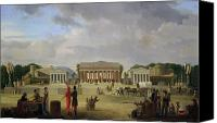Public Square Canvas Prints - View of the Grand Theatre Constructed in the Place de la Concorde for the Fete de la Paix Canvas Print by Jean Baptiste Louis Cazin