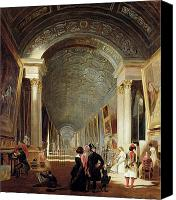 The Louvre Museum Canvas Prints - View of the Grande Galerie of the Louvre Canvas Print by Patrick Allan Fraser