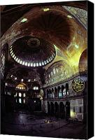 Byzantine Photo Canvas Prints - View Of The Interior Of Hagia Sophia Canvas Print by James L. Stanfield