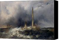 Scary Painting Canvas Prints - View of the Lighthouse at Gatteville Canvas Print by Jean Louis Petit