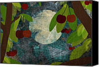 Food And Drink Canvas Prints - View Of The Moon And Cherries Growing On Trees At Night Canvas Print by Jutta Kuss