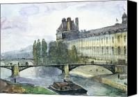 River View In Paris Canvas Prints - View of the Pavillon de Flore of the Louvre Canvas Print by Francois-Marius Granet