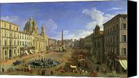 City Streets Canvas Prints - View of the Piazza Navona Canvas Print by Canaletto