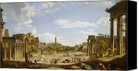 Ruin Painting Canvas Prints - View of the Roman Forum Canvas Print by Giovanni Paolo Panini