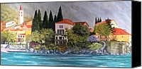 Lago Di Como Canvas Prints - View of Varenna Canvas Print by Linda Scott