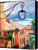Lago Di Como Canvas Prints - View to Lake Como Canvas Print by Linda Scott