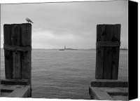 New York Harbor Canvas Prints - View Toward Statue Of Liberty In Nyc Canvas Print by Utopia Concepts