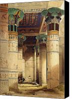 Ruin Painting Canvas Prints - View under the Grand Portico Canvas Print by David Roberts