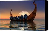 Ancient Digital Art Canvas Prints - Viking Boat Canvas Print by Corey Ford