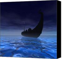 Ancient Digital Art Canvas Prints - Viking Ship Canvas Print by Corey Ford