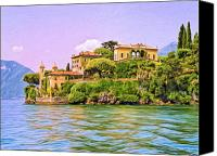 Lago Di Como Canvas Prints - Villa on Lake Como Canvas Print by Dominic Piperata