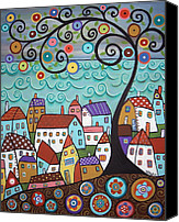 Colorful Print Canvas Prints - Village By The Sea Canvas Print by Karla Gerard