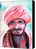 Anil Nene Canvas Prints - Village Chief Canvas Print by Anil Nene
