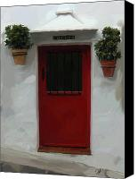 Red Door Canvas Prints - Village Cocina Canvas Print by Patti Siehien