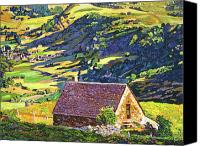 Stone Posters Canvas Prints - Village In The Valley Canvas Print by David Lloyd Glover