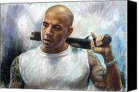 Iron Pastels Canvas Prints - Vin Diesel Canvas Print by Ylli Haruni