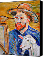 Jon Baldwin Art Canvas Prints - Vincent Van Goat  Canvas Print by Jon Baldwin  Art