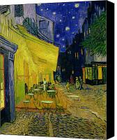 Oil On Canvas Canvas Prints - Vincent van Gogh Canvas Print by Cafe Terrace Arles