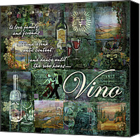 Glass Bottles Canvas Prints - Vino Canvas Print by Evie Cook