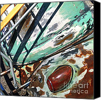 Wing Mirror Canvas Prints - Vintage 1961 Volkswagon Green Canvas Print by Gwyn Newcombe