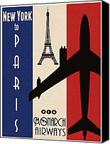 Advertising Canvas Prints - Vintage Air Travel Paris Canvas Print by Cinema Photography