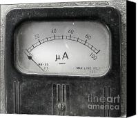 Dial Photo Canvas Prints - Vintage Ampere Meter Canvas Print by Yali Shi