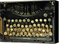Typewriter Canvas Prints - Vintage Antique Typewriter - Text Me Canvas Print by Kathy Fornal
