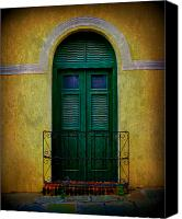 Old San Juan Canvas Prints - Vintage Arched Door Canvas Print by Perry Webster