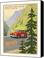 Ford Digital Art Canvas Prints - Vintage Austrian Rally Poster Canvas Print by Mitch Frey