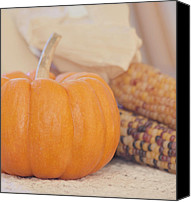 Thanksgiving Art Canvas Prints - Vintage Autumn Harvest  Canvas Print by Kim Hojnacki