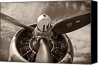 Warbird Photo Canvas Prints - Vintage B-17 Canvas Print by Adam Romanowicz