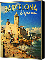 Barcelona Digital Art Canvas Prints - Vintage Barcelona Espana Canvas Print by Vintage Poster Designs