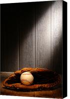 Glove Canvas Prints - Vintage Baseball Canvas Print by Olivier Le Queinec