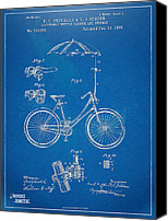 Tour De France Canvas Prints - Vintage Bicycle Parasol Patent Artwork 1896 Canvas Print by Nikki Marie Smith