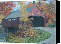 Collectibles Canvas Prints - Vintage Bridge American Coca Cola Canvas Print by Jake Hartz