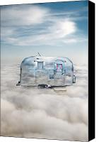 Camper Canvas Prints - Vintage Camping Trailer in the Clouds Canvas Print by Jill Battaglia