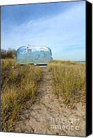 Camper Canvas Prints - Vintage Camping Trailer Near the Sea Canvas Print by Jill Battaglia