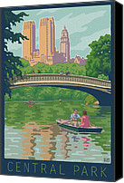 Couples Digital Art Canvas Prints - Vintage Central Park Canvas Print by Mitch Frey