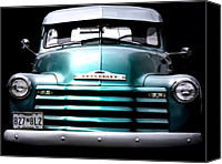 Antique Automobiles Digital Art Canvas Prints - Vintage Chevy 3100 Pickup Truck Canvas Print by Steven  Digman