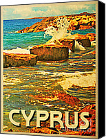 Cyprus Digital Art Canvas Prints - Vintage Cyprus Rocky Shore Canvas Print by Vintage Poster Designs