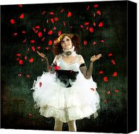 Raining Canvas Prints - Vintage Dancer Series Raining Rose Petals  Canvas Print by Cindy Singleton