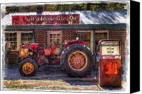 Tractor Wheel Canvas Prints - Vintage Canvas Print by Debra and Dave Vanderlaan