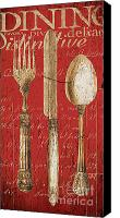 Antique Painting Canvas Prints - Vintage Dining Utensils in Red Canvas Print by Grace Pullen